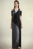 Off-shoulder Black and Silver gown with splice sleeves and curved front slit