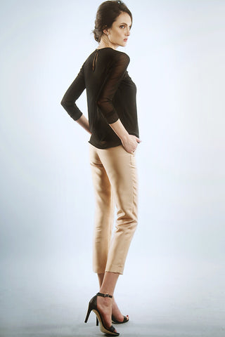 Gold silk capri pants