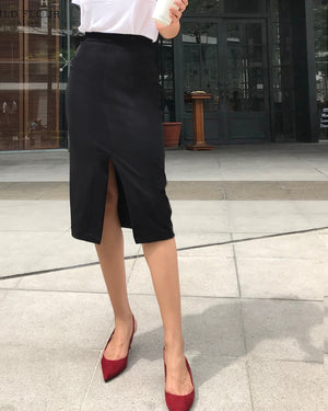 Long and Lean Midi Power Skirt