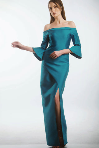 Cerulean blue off-shoulder gown with curved splice