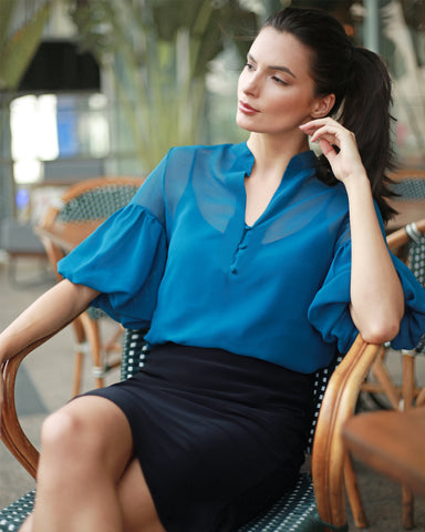 Cool and collected in Blue, your next Date Dress