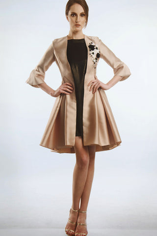 Coat dress with floral appliques