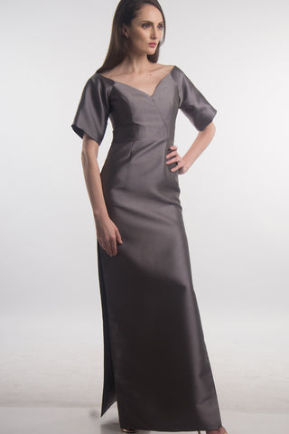 Grey off-shoulder silk gown