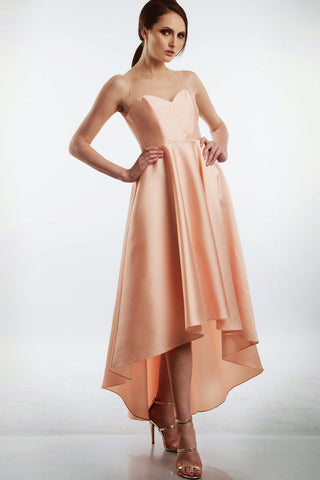 Peach ball gown with invisible tulle
