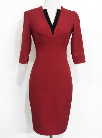 Red panelled dress with Black V-neck contrast