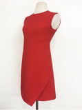 Red sleeveless dress with overlap panelled slit