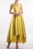 Yellow V-neck gown with high front hem