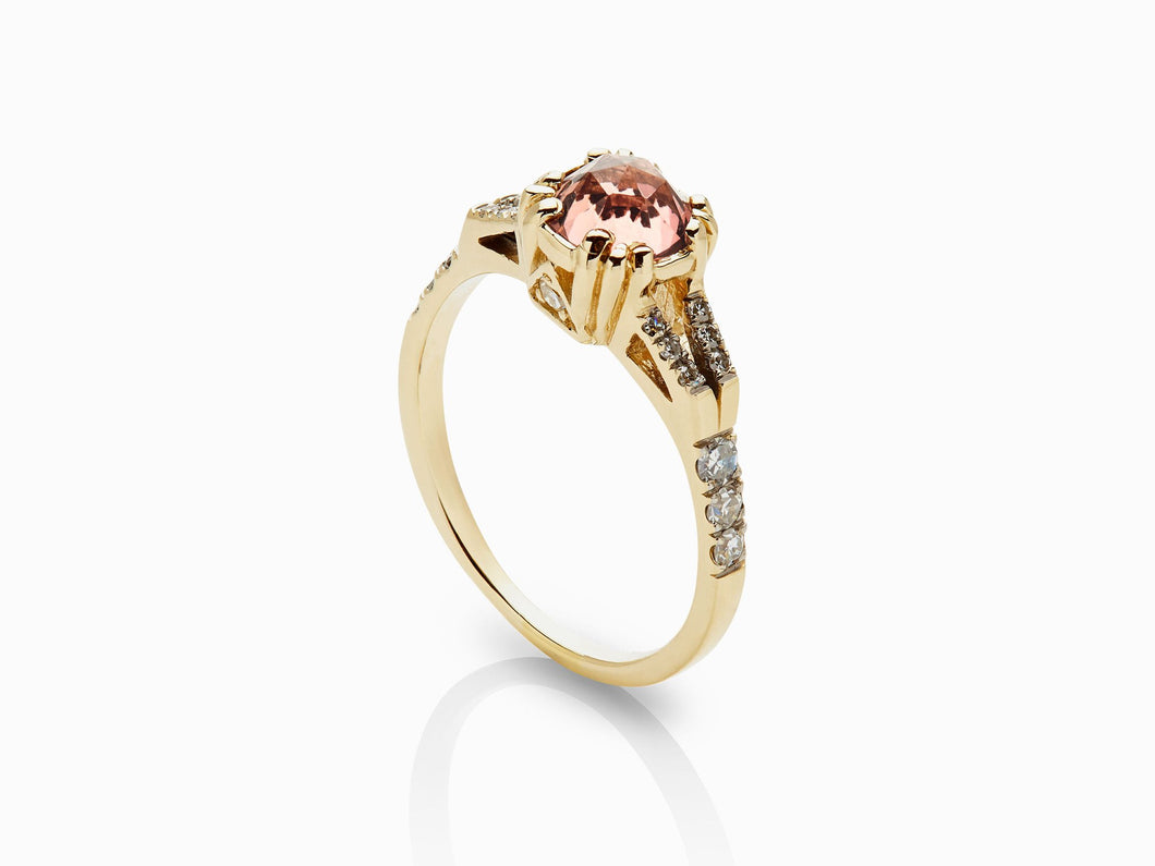 Beloved Solitaire Ring - Peach Tourmaline (10358848649)