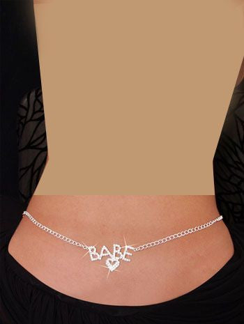Babe Rhinestone Belly Chain for Women (Silver)
