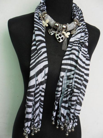 Fashion Scarve with Accessories  For Women (WhiteBlack, Fabric)