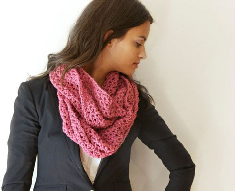 Crochet Scarf For Women (Pink, Wool)