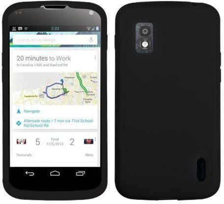 """Asmyna LGE960CASKSO004 Slim and Soft Durable Protective Case for LG Nexus 4 E960 - 1 Pack - Retail Packaging - Black """