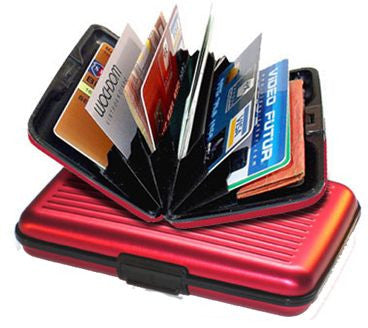 Aluma Wallet Aluminum Credit Card Holder-RED