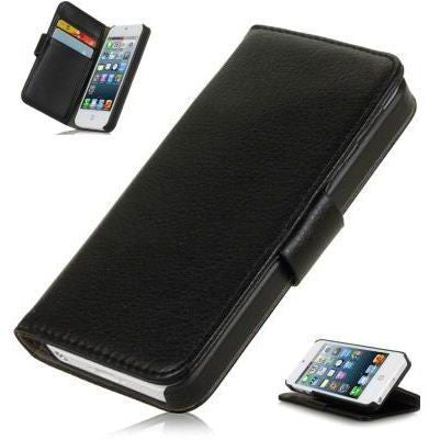Luxury HK Apple iPhone 5 5S Wallet Leather Flip Stand Cover Case Included Calans Screen Protector -(Black)
