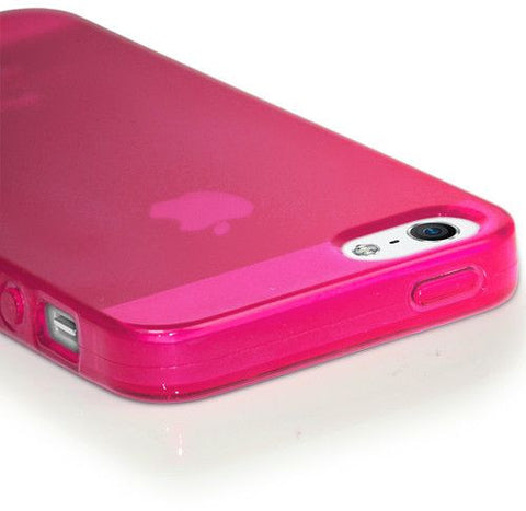 Matte TPU Apple iPhone 5 5S Silicone Case Cover Included Calans Screen Protector Film -(Hot Pink)