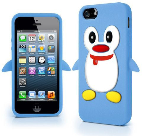 Penguin Style Apple iPhone 5 5S Silicone Case Cover Included Calans Screen Protector Film -(Light Blue)