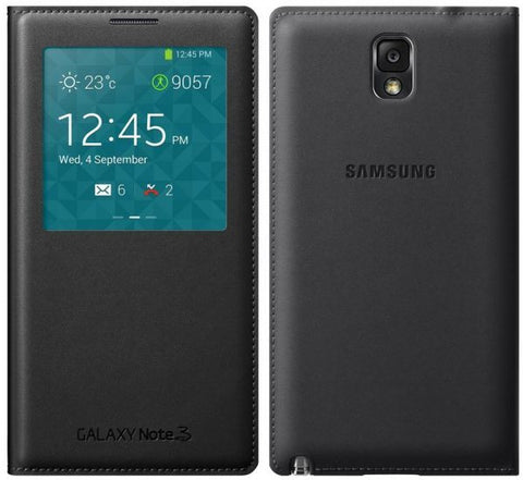Samsung Galaxy Note 3 - S View Case - Premium Flip Case - With S View Functions, Sleep/Wake functions, Answer Calls, Control Music, Camera and More. & Extra Charging/Data Cable USB 3 - BLACK COLOR