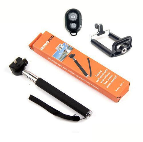 Selfie Monopod Rod Pole with Mobile holder Clip & Instant Shot Bluetooth Shutter Remote Smartphone