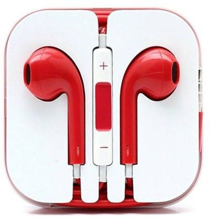 Earpods Handsfree Earphone Stereo Headset mic for Apple iPhone 5/5S - Red