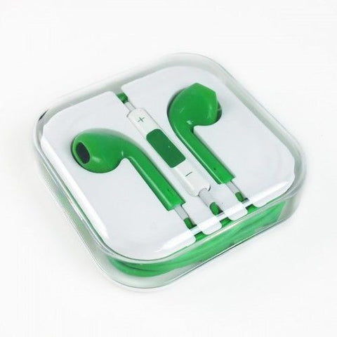 Earpods Handsfree Earphone Stereo Headset mic for Apple iPhone 5/5S - Green