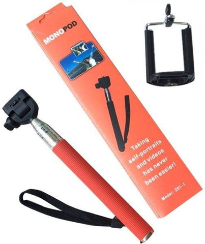 SelfieTime Monopod Handheld Camera Extender with Mobile Adaptor (Red)