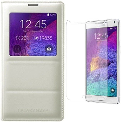 S-View Flip Cover for Samsung Galaxy Note 4 / White  with Dimax Tempered Glass  Screen Protector
