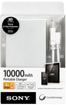 Sony 10000 mAh USB Portable Charger for Smartphone (CP-F10L) - White