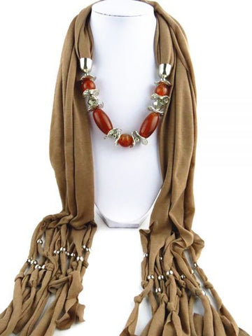 Fashion Scarf RTG-SC-004 With Accessory-Light Brown