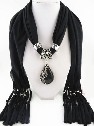 black scarf with accessories