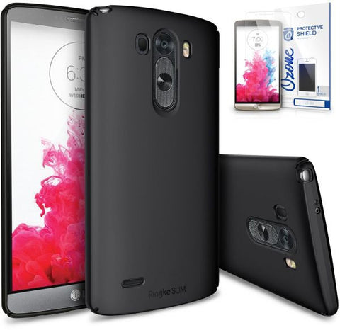 Ringke Slim Premium Dual Coated Hard Case Cover & Ozone Screen Guard for  LG G3