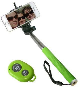 (selfie Monopod with Bluetooth Remote Sutter and Smart Phone holder )Green