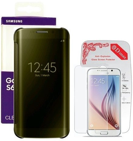Samsung Clear View Cover  for Galaxy S6 Edge Gold - with Dimax Tempered Glass Screen Protector