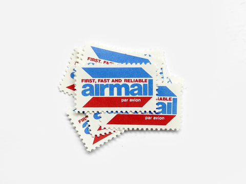 Airmail Labels x 5 (1970s)