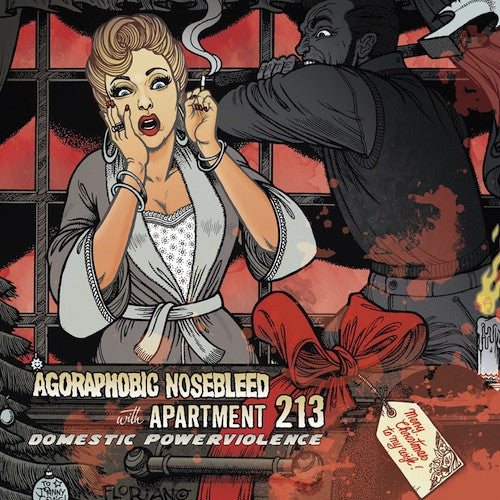 Agoraphobic Nosebleed / Apartment 213 - Domestic Powerviolence LP (Yellow / Red Splatter Vinyl) - Grindpromotion Records