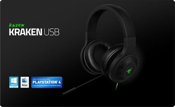 Razer Kraken Over Ear USB Gaming Headset with Mic for PC and PS4