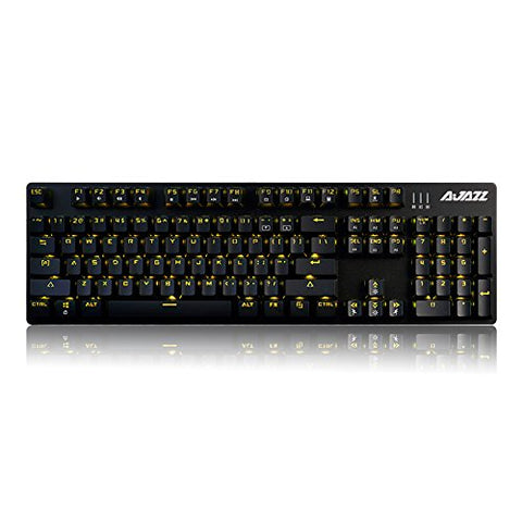 Ajazz AK52 Black Base Yellow Backlit Blue Switch Mechanical Keyboard