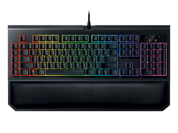 Razer BlackWidow Chroma V2, Silent RGB Mechanical Gaming Keyboard, Ergonomic Wrist Rest - Razer Green Switches