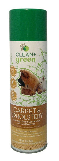 Clean & Green Dog And Cat Carpet Stain Remover, Odor Eliminator And Cleaner 16 oz