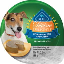 Blue Buffallo Dog Divine Delights Bacon, Egg and Cheese Flavor Breakfast Bites 3.5 oz cup