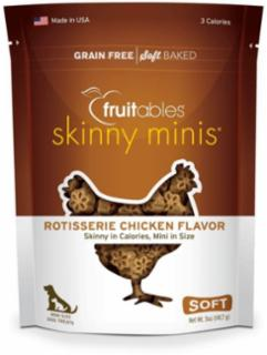 Fruitables Skinny Minis Rotisserie Chicken Flavor Chewy Dog Treats 5 oz