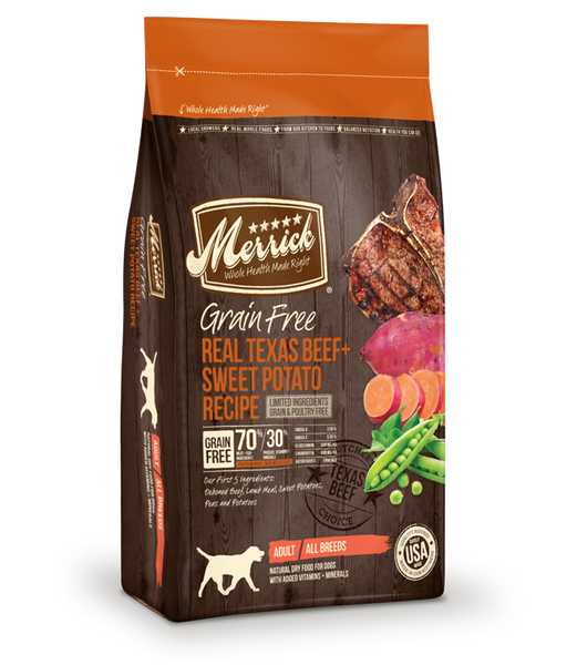 Merrick Grain Free Real Texas Beef + Sweet Potato Recipe 25 lb