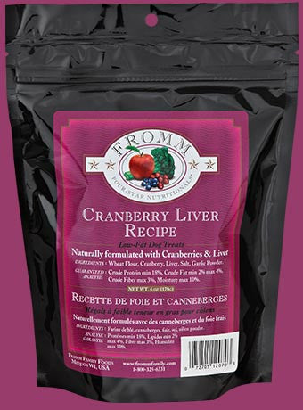 Fromm Four Star Dog Treat Low-Fat Cranberry Liver 6 Oz