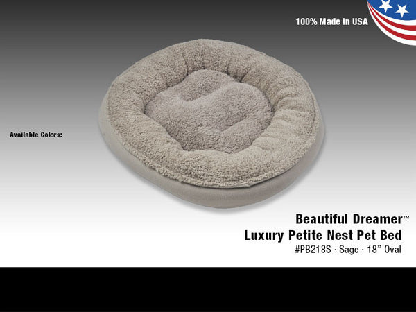 "Van Ness Beautiful Dreamer Luxury Petite Nest Pet Bed Sage 18""  Oval"