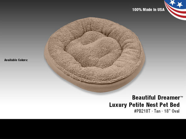 "Van Ness Beautiful Dreamer Luxury Petite Nest Pet Bed Tan 18""  Oval"