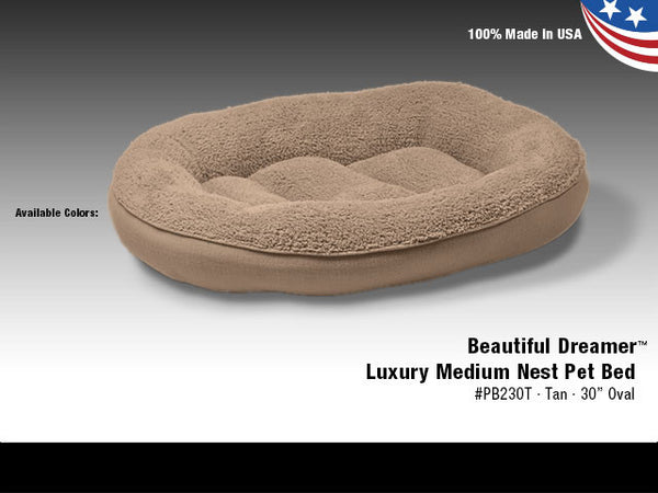 "Van Ness Beautiful Dreamer Luxury Medium Nest Pet Bed Tan 30"" Oval"