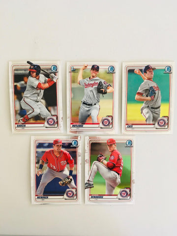 2020 Bowman Chrome Prospects Team Set Series 1 - Washington Nationals (5 Cards)