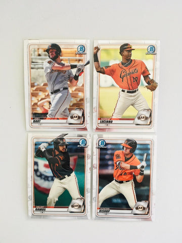 2020 Bowman Chrome Prospects Team Set Series 1 - San Francisco Giants (4 Cards)