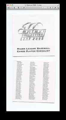 2005 Leaf Century 89 card starter set - Cards listed Inside - Free Shipping