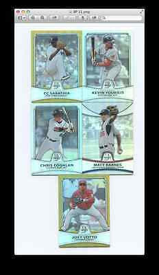 2010 Bowman Platinum Lot of 5 Cards - Gold Refract/PPRefract PR