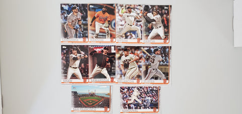 2019 Topps Series 2 Team Set San Francisco Giants (10 Cards)